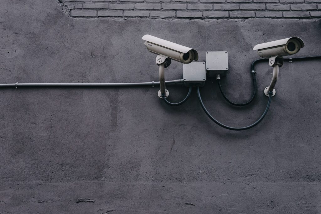 Security cameras watch over people and their data